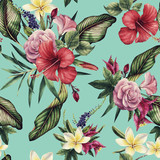 Seamless floral pattern with tropical flowers, watercolor. - 137343675