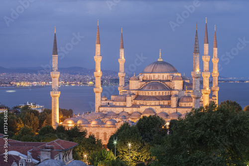 Elevated view of The Blue Mosque at dusk, Istanbul, Turkey. Poster