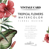 Greeting card with tropical flowers, watercolor, can be used as invitation card for wedding, birthday and other holiday and summer background - 137344002
