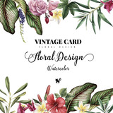 Greeting card with tropical flowers, watercolor, can be used as invitation card for wedding, birthday and other holiday and summer background - 137344077