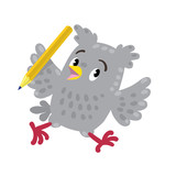 Trowbled running owl with pen