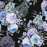 Seamless floral pattern with roses, watercolor. Vector illustration. - 137348018