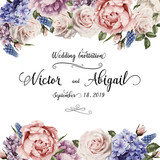 Greeting card with roses, watercolor, can be used as invitation card for wedding, birthday and other holiday and  summer background. Vector illustration. - 137348256