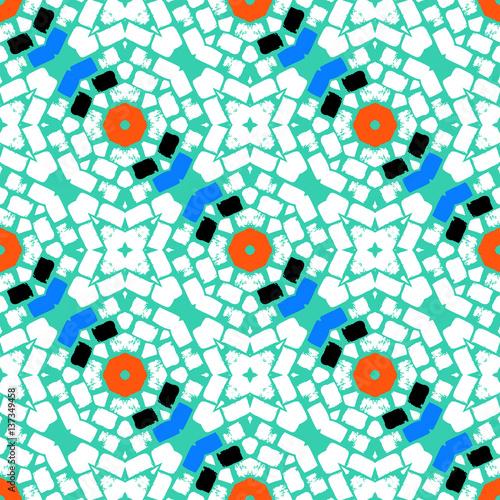 Cotton fabric Hand drawn colorful geometric pattern