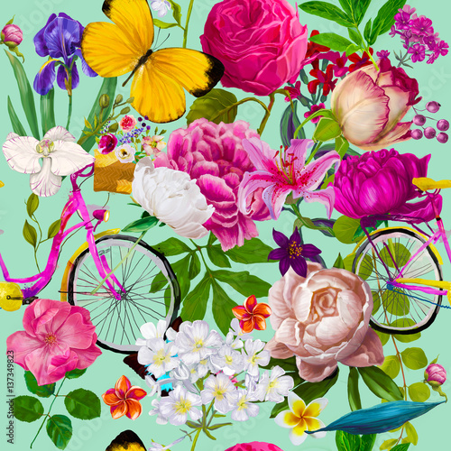 Cotton fabric seamless floral fashion pattern