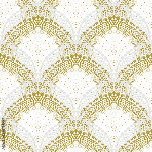 Naklejka White geometric texture in art deco style