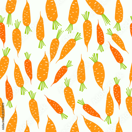 Fototapeta Seamless pattern with carrot background and infographic vegetable, food vector