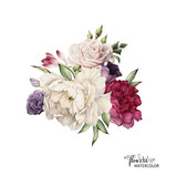 Bouquet of peonies, watercolor, can be used as greeting card, invitation card for wedding, birthday and other holiday and  summer background. - 137352050