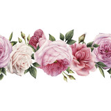 Seamless floral pattern with peonies, watercolor. - 137354097