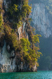Limestone rock texture and green plants above clear blue water. Mountains in Khao Sok national park, Cheo Lan lake, Thailand
