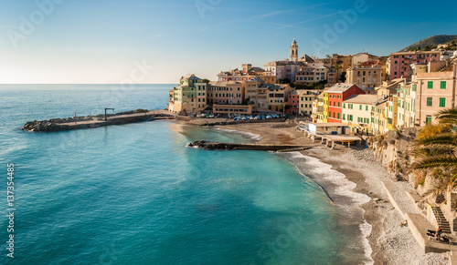Aluminium Liguria Panoramic view of Bogliasco, small sea village near Genoa (northern Italy)