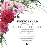 Greeting card with roses, watercolor, can be used as invitation card for wedding, birthday and other holiday and  summer background. - 137355234