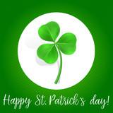 Happy St Patricks Day text with shamrock
