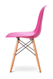 Pink color chair, modern designer, chair isolated on white background.