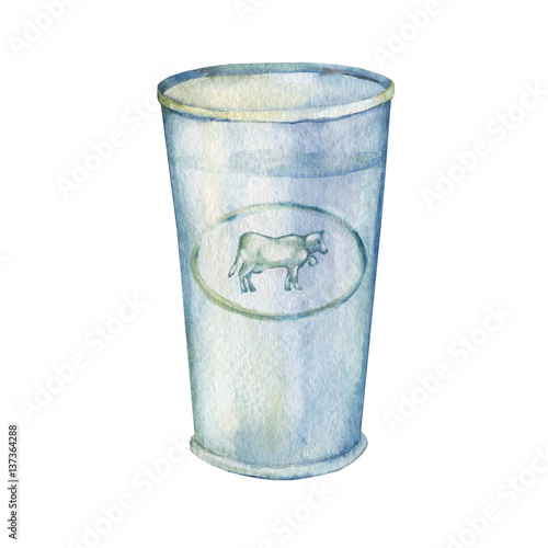 Foto op Plexiglas Milkshake Glass of milk. Hand drawn watercolor painting on white background.