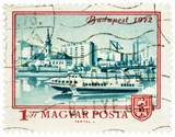 View of Budapest and Danube river on postage stamp