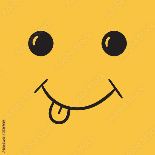 Foto op Aluminium Retro sign Simple smile with tongue vector icon. Hand drawn face doodle illustration on orange background.
