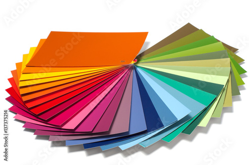 Poster  Color palette guide, paint catalog samples, rainbow swatch