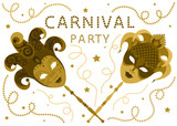 Carnival party cards. Concept design two Golden masks with ribbons and confetti stars on white background - vector illustration.