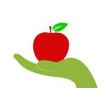 disegno vettoriale mela nel palmo della mano