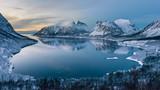 Polar night, Bergsfjord near Bergsbotn at Senja, Norway. - 137378655