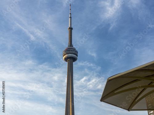 Toronto, low angle view of CN Tower.