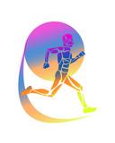 vettoriale persona che corre con muscolatura multicolore , logo