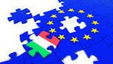 European Union Puzzle and one Puzzle Piece with Italy Flag. 3D illustration