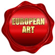 european art, 3D rendering, red wax stamp with text