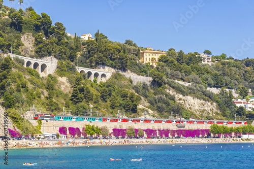 Fotobehang Nice Summer coastline in Villefranche-sur-Mer, City of Nice, France