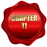 chapter 11, 3D rendering, red wax stamp with text