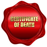 certificate of death, 3D rendering, red wax stamp with text