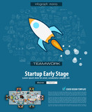 Startup Landing Page template with hand drawn sketches and a lot of mockups design elements