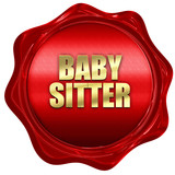 babysitter, 3D rendering, red wax stamp with text