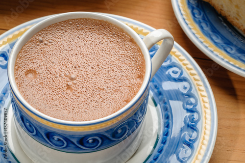 Foto op Plexiglas Chocolade Traditional mexican hot chocolate cup with cinnamon