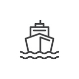 Boat line icon, outline vector sign, linear style pictogram isolated on white. Ship by sea symbol, logo illustration - 137419446