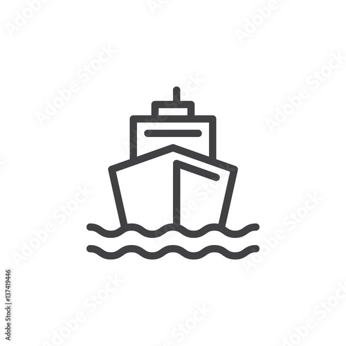 Fototapeta Boat line icon, outline vector sign, linear style pictogram isolated on white. Ship by sea symbol, logo illustration