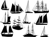 eleven black ships isolated on white