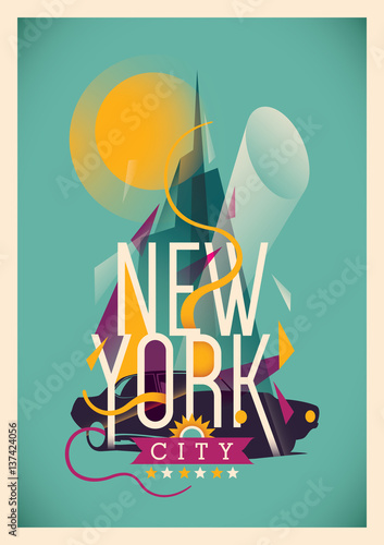 Abstract New York city poster. Vector illustration. - 137424056