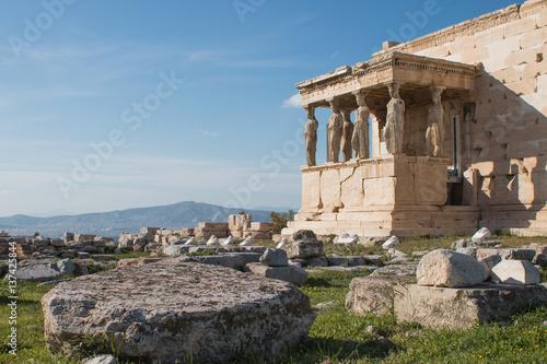 Athens, Greece - February 12, 2017: Ancient temple Erechteion in Acropolis