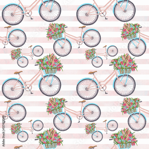 Cotton fabric Bycicle Illustration Seamless Pattern Hand-Painted Background Texture Wallpaper Scrapbook