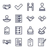 Set of 16 agreement outline icons