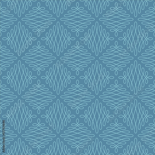 Neutral Seamless Linear Flourish Pattern. - 137434646
