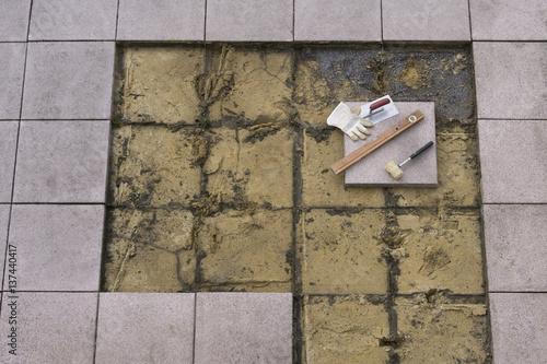 Foto Murales Terrassenplatten verlegen