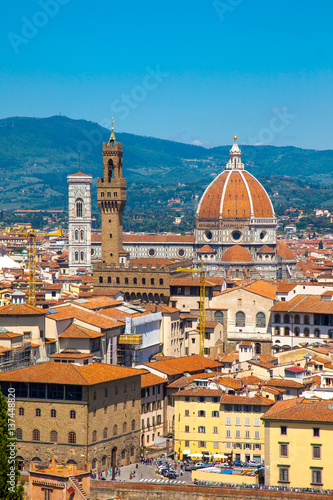 Staande foto Florence View of Cathedral of Santa Maria del Fiore and Palazzo Vecchio, Florence, Italy