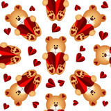 Seamless pattern with teddy bears and hearts