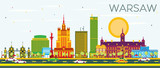 Warsaw Skyline with Color Buildings and Blue Sky. - 137457674