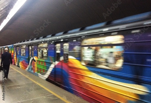 Foto op Plexiglas Kiev art train in Kiev metropolitan