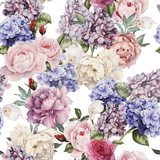 Seamless floral pattern with peonies, watercolor. - 137458841