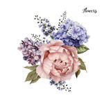 Bouquet of roses, watercolor, can be used as greeting card, invitation card for wedding, birthday and other holiday and  summer background. - 137458874